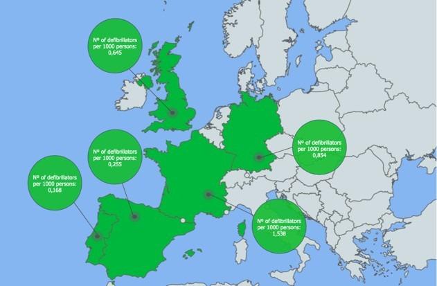 mapa de desfibriladores en europa